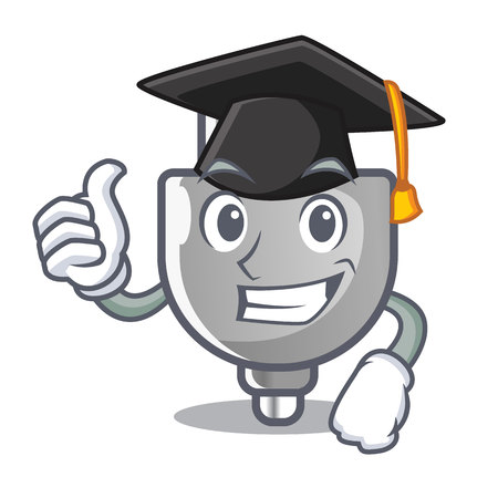 Graduation power plug in the character shape vector illustration