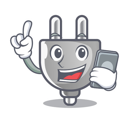 With phone power plug stuck the cartoon wall vector illustration