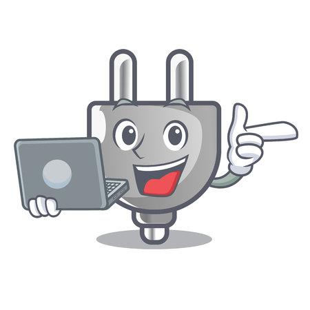With laptop power plug stuck the cartoon wall vector illustration