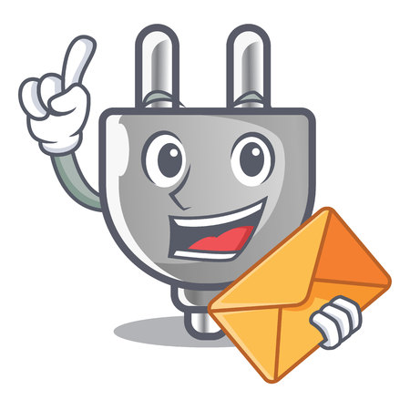 With envelope power plug in the character shape vector illustration