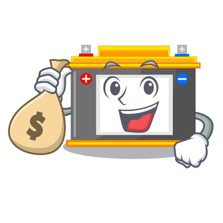 With money bag accomulator in the a character shape vector illustration