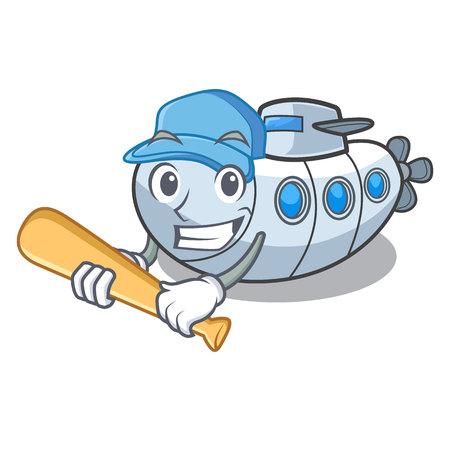 Playing baseball miniature submarine in the character shape vector illustration Illustration