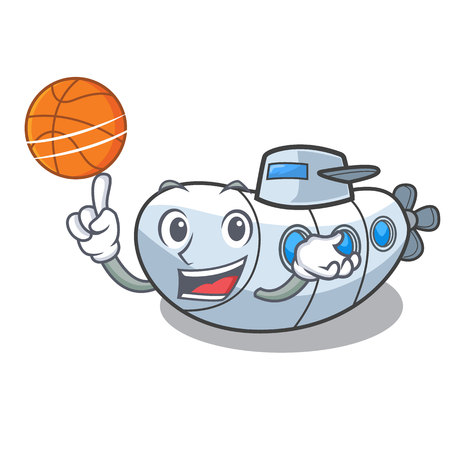 With basketball miniature submarine in the character shape vector illustration