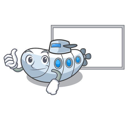 Thumbs up with board miniature submarine in the character shape vector illustration
