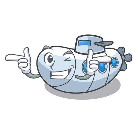 Wink submarine in the a cartoon shape vector illustration