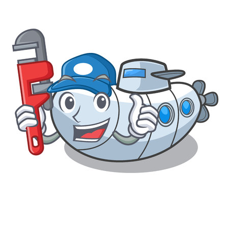 Plumber diving submarine in the mascot sea vector illustration