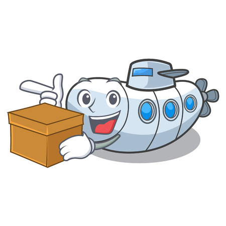 With box submarine in the a cartoon shape vector illustration Çizim