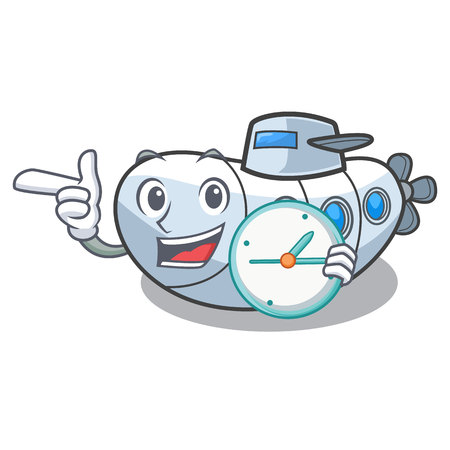 With clock submarine in the a cartoon shape vector illustration Illustration