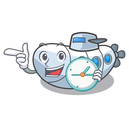 With clock submarine in the a cartoon shape vector illustration Ilustração