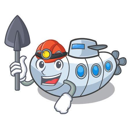 Miner submarine isolated with in the cartoon vector illustration