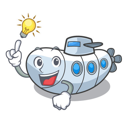 Have an idea diving submarine in the mascot sea vector illustration