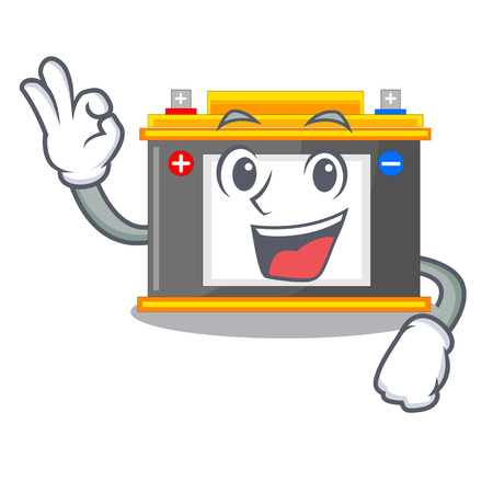 Okay accomulator the mascot next to table vector illustration