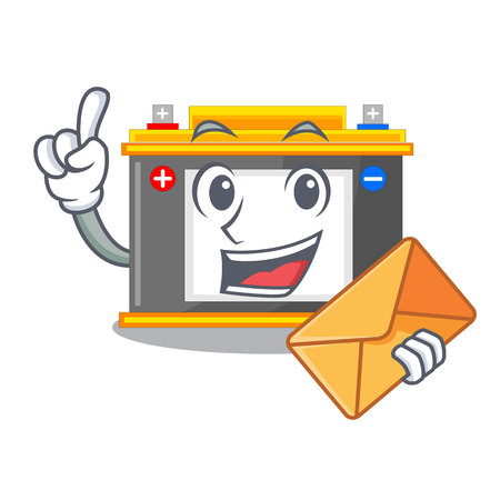 With envelope accomulator the mascot next to table vector illustration