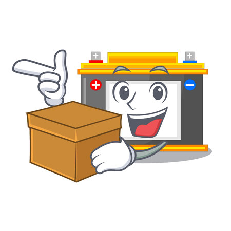 With box accomulator the mascot next to table vector illustration Çizim