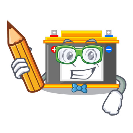 Student accomulator the mascot next to table vector illustration
