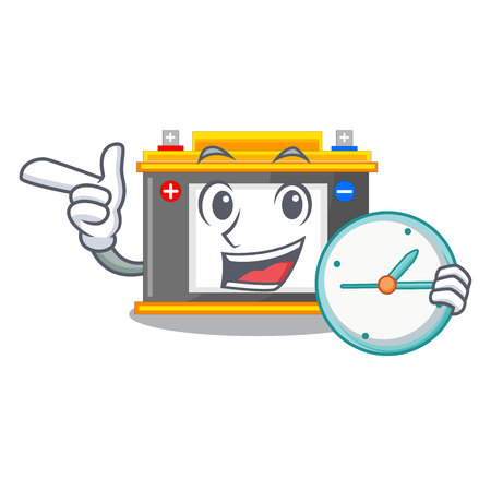 With clock accomulator the mascot next to table vector illustration Çizim