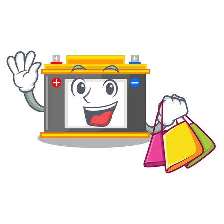 Shopping accomulator the mascot next to table vector illustration