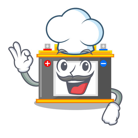 Chef accomulator the mascot next to table vector illustration Çizim