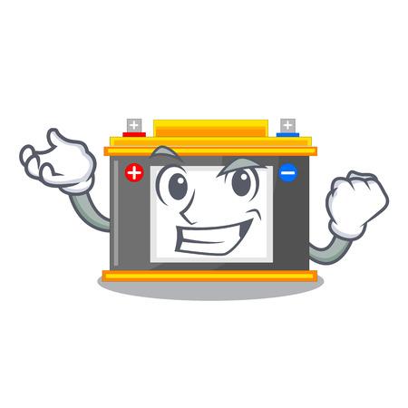 Successful accomulator the mascot next to table vector illustration Çizim