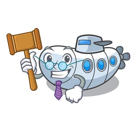 Judge diving submarine in the mascot sea vector illustration