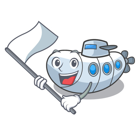 With flag diving submarine in the mascot sea vector illustration