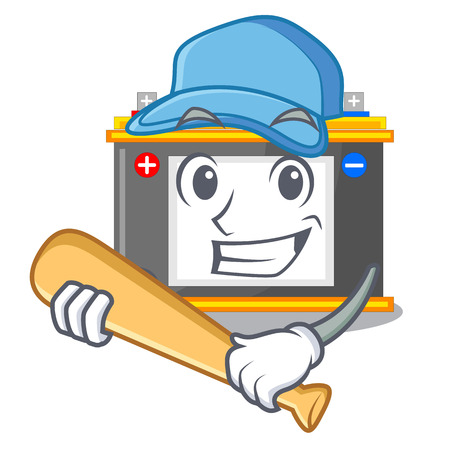 Playing baseball accomulator in the a character shape vector illustration
