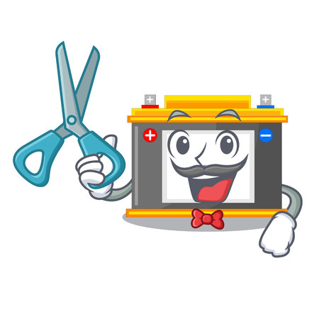 Barber accomulator in the a character shape vector illustration