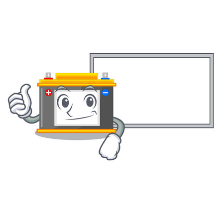 Thumbs up with board accomulator in the a character shape vector illustration Ilustrace