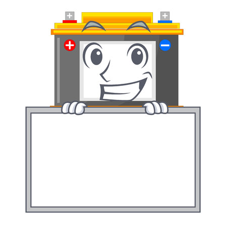 Grinning with board accomulator in the a character shape vector illustration