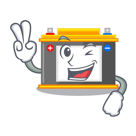 Two finger accomulator the mascot next to table vector illustration