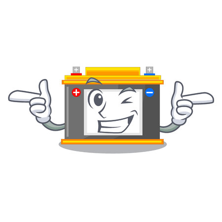 Wink accomulator the mascot next to table vector illustration