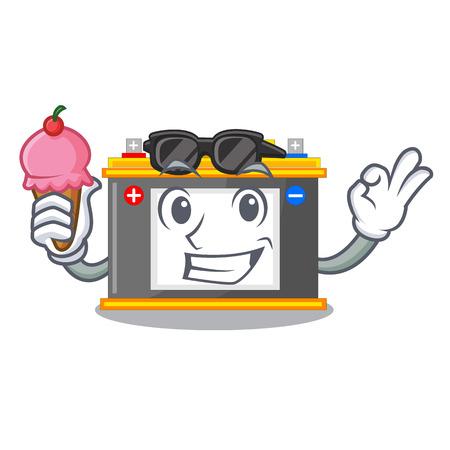 With ice cream accomulator the mascot next to table vector illustration Çizim