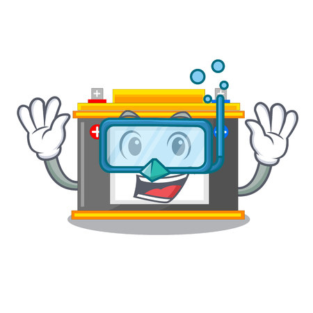 Diving accomulator the mascot next to table vector illustration