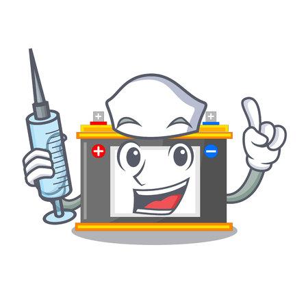 Nurse accomulator the mascot next to table vector illustration