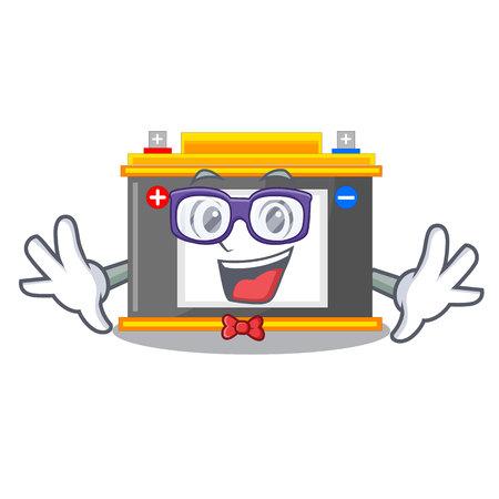 Geek accomulator the mascot next to table vector illustration Çizim