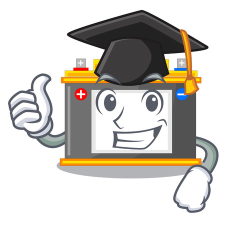 Graduation accomulator the mascot next to table vector illustration