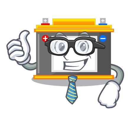 Businessman accomulator the mascot next to table vector illustration