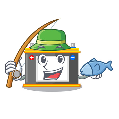 Fishing accomulator cartoon sticks on the wall vector illustration Ilustração