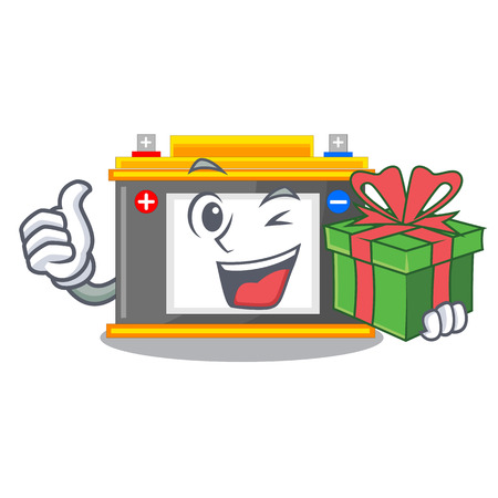 With gift accomulator cartoon sticks on the wall vector illustration
