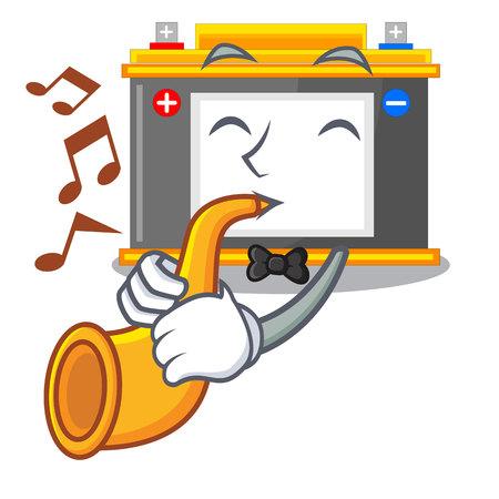 With trumpet accomulator cartoon sticks on the wall vector illustration Ilustração