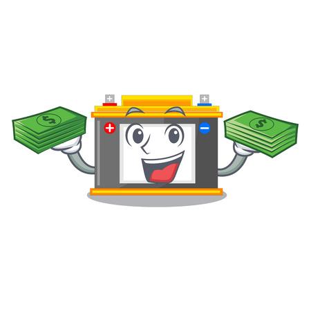 With money bag accomulator cartoon sticks on the wall vector illustration Ilustração