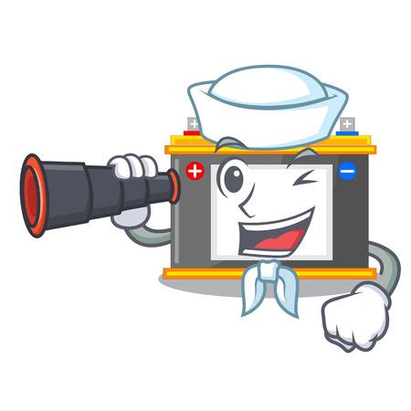 Sailor with binocular accomulator cartoon sticks on the wall vector illustration Ilustração