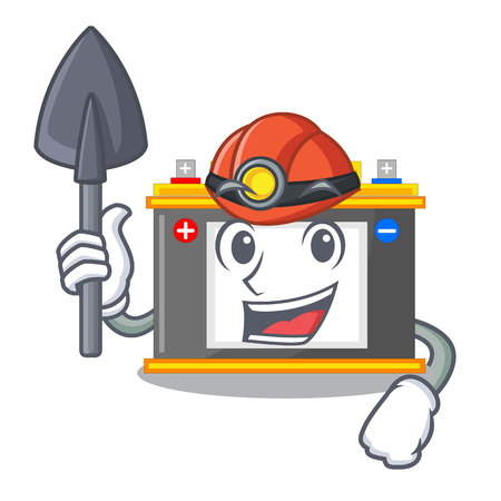 Miner accomulator cartoon sticks on the wall vector illustration