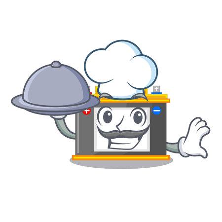 Chef with food accomulator cartoon sticks on the wall vector illustration
