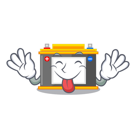 Tongue out miniature accomulator in the a shape vector illustration
