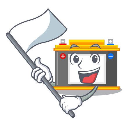 With flag miniature accomulator in the a shape vector illustration
