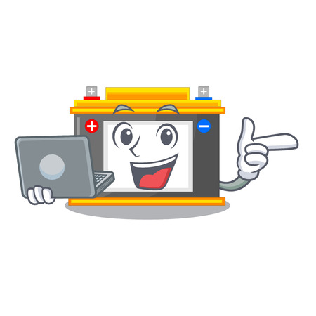 With laptop accomulator in the a character shape vector illustration Ilustração