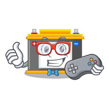 Gamer accomulator cartoon sticks on the wall vector illustration
