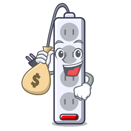 With money bag power strip in the character shape vector illustration