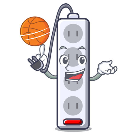 With basketball power strip in the character shape vector illustration